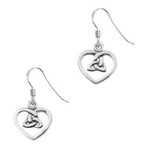 Celtic Trinity Knot Silver Heart Drop Earrings 0560